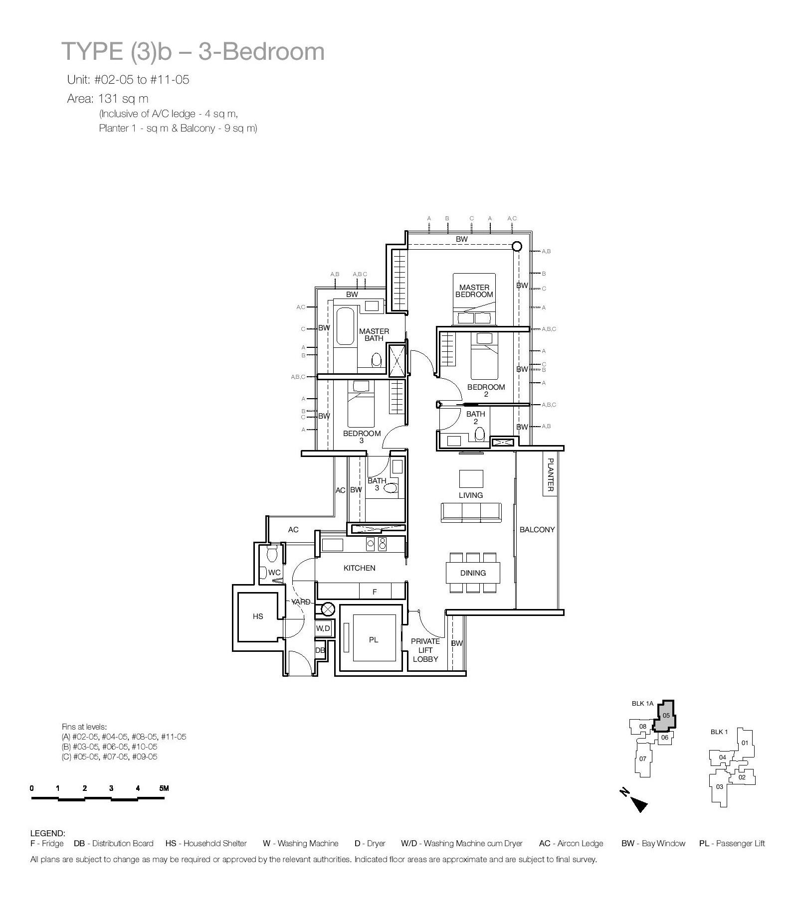One Balmoral 3 Bedroom Floor Type (3)b Plans
