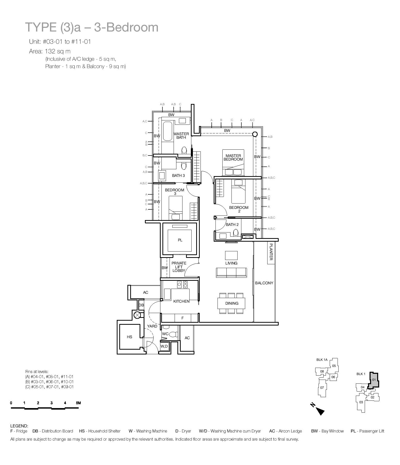 One Balmoral 3 Bedroom Floor Type (3)a Plans