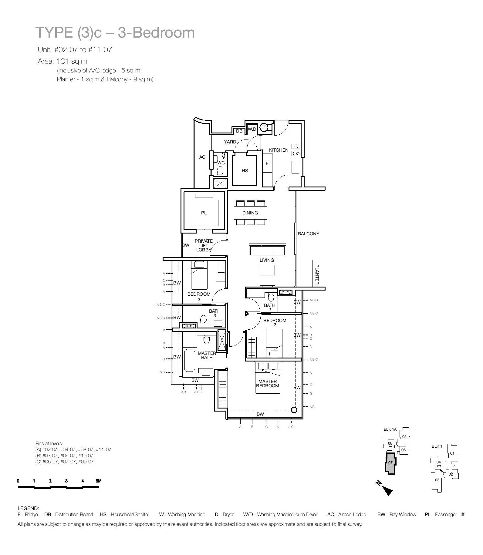 One Balmoral 3 Bedroom Floor Type (3)c Plans